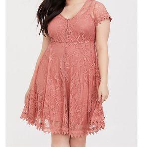 Blush Pink Lace Button Dress